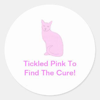 Pink Cat Round Sticker