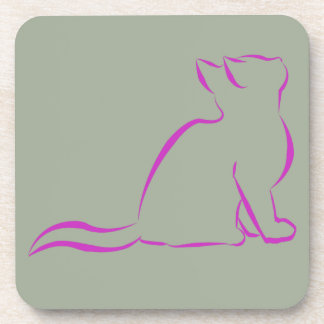 Pink cat silhouette beverage coaster