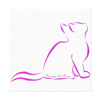 Pink cat silhouette, inside text canvas print