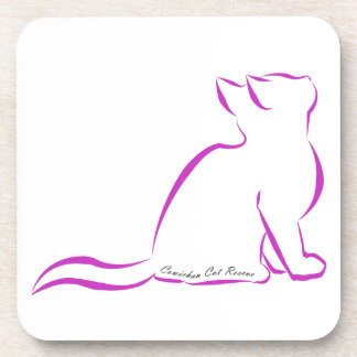 Pink cat silhouette, inside text drink coaster