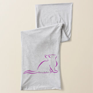 Pink cat, silhouette, inside text scarf