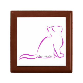Pink cat silhouette, inside text small square gift box
