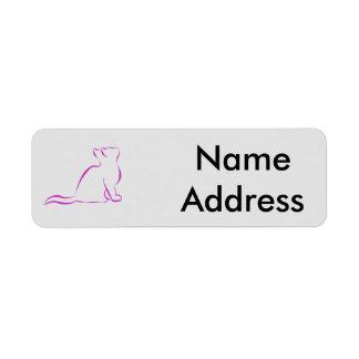 Pink cat silhouette return address label