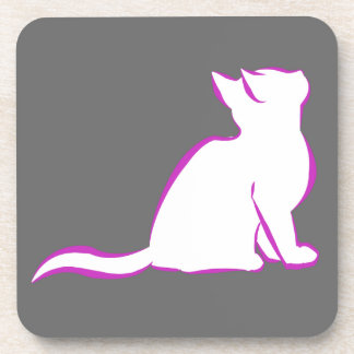 Pink cat, white fill beverage coasters