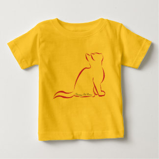 Pink cat, white fill, inside text baby T-Shirt
