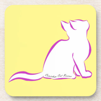 Pink cat, white fill, inside text coasters