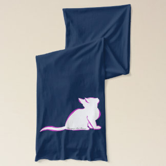 Pink cat, white fill, inside text scarf