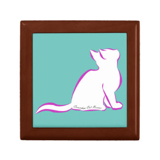 Pink cat, white fill, inside text small square gift box