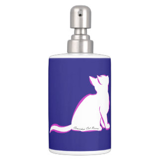 Pink cat, white fill, inside text soap dispenser and toothbrush holder