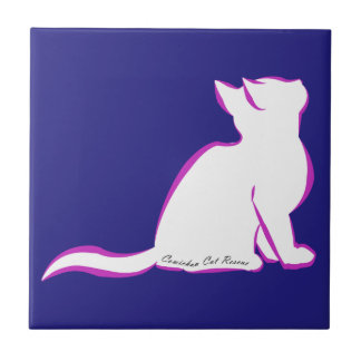 Pink cat, white fill, inside text tile