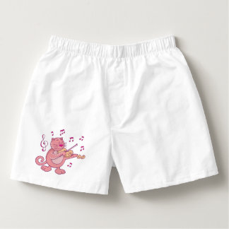 Pink Cat with Violin Boxers
