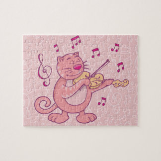Pink Cat with Violin Jigsaw Puzzle
