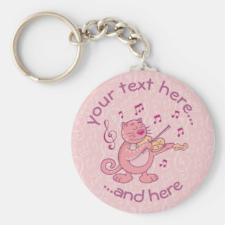 Pink Cat with Violin Key Ring