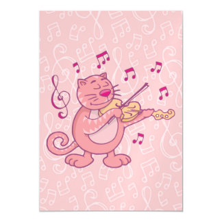 Pink Cat with Violin Magnetic Card