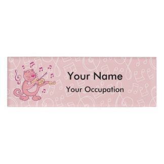 Pink Cat with Violin Name Tag