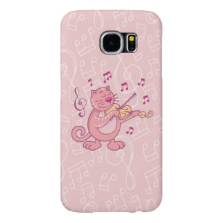 Pink Cat with Violin Samsung Galaxy S6 Cases