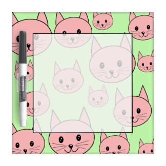 Pink Cats, on Light Green. Dry Erase Board