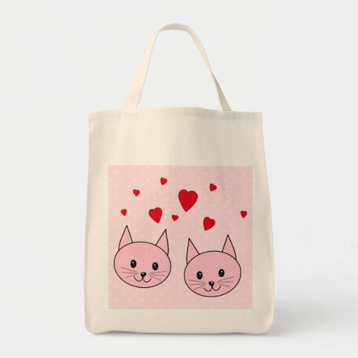 Pink cats with love hearts. canvas bags