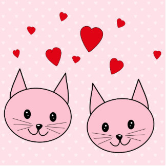 Pink cats with love hearts. photo sculpture badge