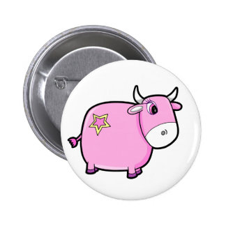 Pink Cattle Cow Button