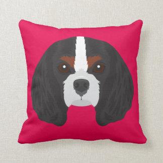 Pink Cavalier King Charles Spaniel Throw Pillow
