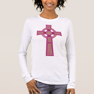 Pink Celtic Cross Ladie's Fitted Long Sleeve Shirt