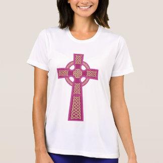 Pink Celtic Cross Ladie's Micro Fiber T-Shirt