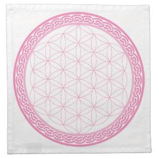 Pink Celtic Flower of Life Crystal Grid for Love Napkin