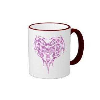 Pink Celtic Heart Knot Ringer Mug