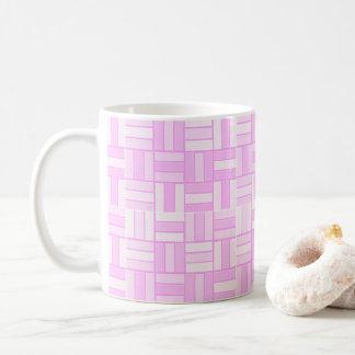Pink ceramic-look tiled pattern coffee mug