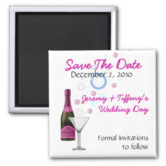 Pink Champagne and Bubbles Save the Date Magnet