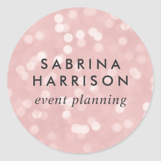 Pink Champagne Bokeh | Personalized/Business Name Classic Round Sticker