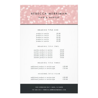 Pink Champagne Bokeh Pricing & Services 14 Cm X 21.5 Cm Flyer