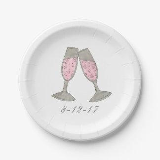 Pink Champagne Bridal Shower Wedding Date Plates