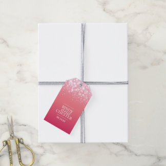 Pink Champagne bubble wedding favor tags