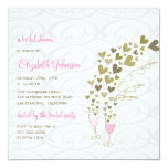 Pink Champagne Cheers Golden Hearts Bridal Shower 13 Cm X 13 Cm Square Invitation Card