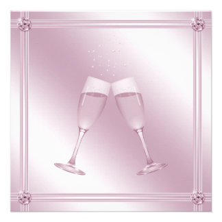 Pink Champagne Glasses Diamonds Engagement Party Personalized Invitation