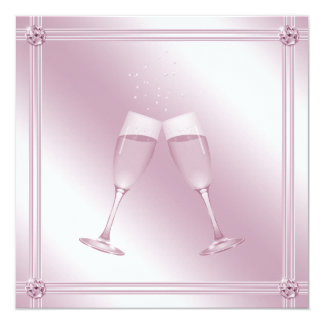 Pink Champagne Glasses & Diamonds Engagement Party Personalized Invitation