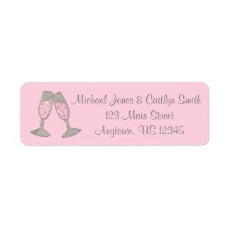 Pink Champagne Toast Bridal Shower Wedding Labels