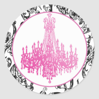 Pink Chandelier and Damask Seals
