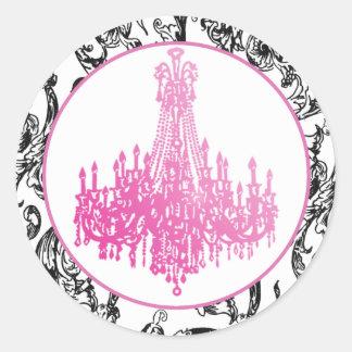Pink Chandelier and Damask Seals Round Sticker
