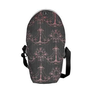 pink chandelier damask on deep gray messenger bag