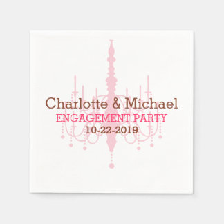 Pink Chandelier Engagement Party Napkins Disposable Serviettes