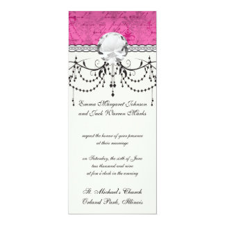 pink chandelier vintage writing background 10 cm x 24 cm invitation card