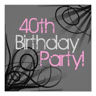 Pink Charcoal Swirl Black Custom Invitations