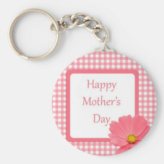 Pink Check Floral Mothers Day Keychains