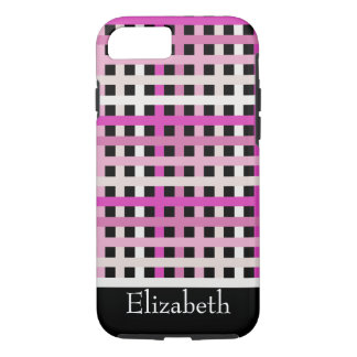 Pink checked stripes black pattern iPhone 7 case
