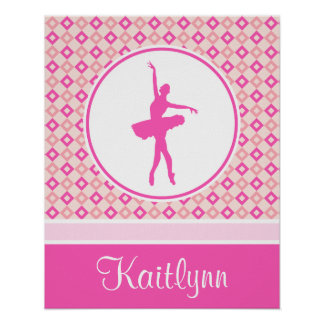 Pink Checkered Diamonds Dance with Monogram Poster