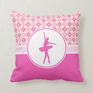 Pink Checkered Diamonds Dance with Monogram Throw Pillow