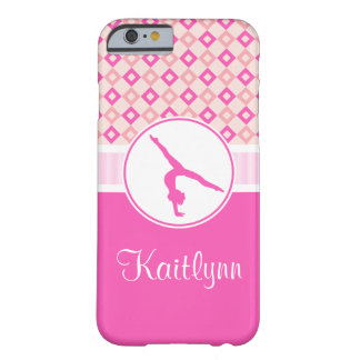 Pink Checkered Diamonds Gymnastics w/ Monogram Barely There iPhone 6 Case